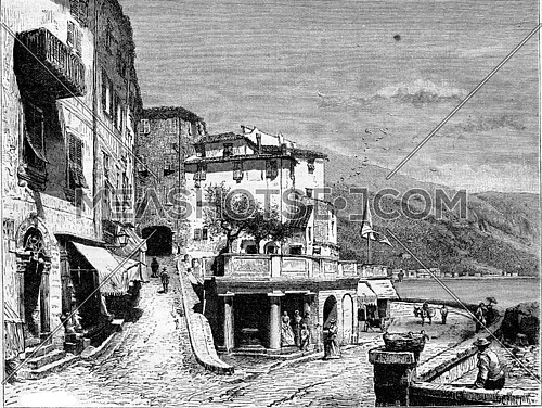 Cape Place in Menton, vintage engraved illustration. Magasin Pittoresque 1882.