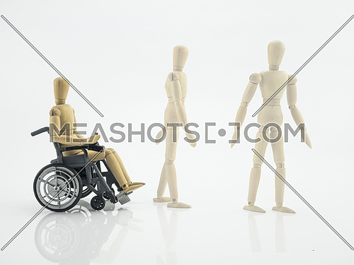 Wooden doll in wheelchair, steps for rehabilitation, conceptual image