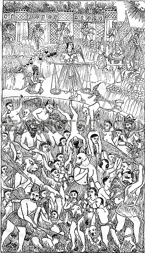 The Persian miniature Judgment, vintage engraved illustration. Magasin Pittoresque 1878.