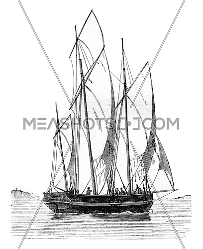 Lugger broad reach, seen by the starboard quarter, vintage engraved illustration. Magasin Pittoresque 1842.