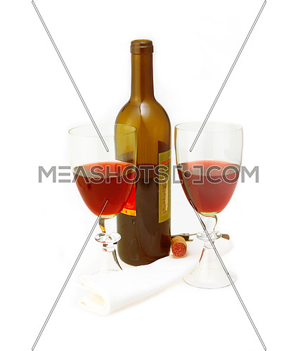 opened red wine bottle and two glasses isolated on white