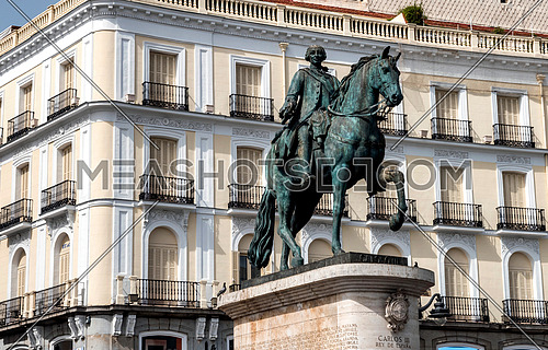 Madrid, Spain - August 3, 2018: Statue homage to king Carlos III in the square Sol in Madrid, Spain
