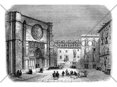 Church of Santa Maria del Pi, vintage engraved illustration. Magasin Pittoresque 1857.