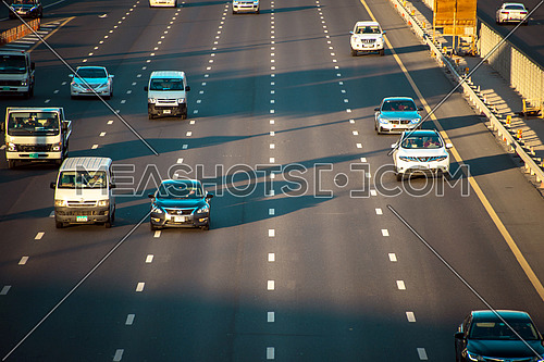 cars moving on Sheikh Zayed road Dubai top shot  18 December 2015
