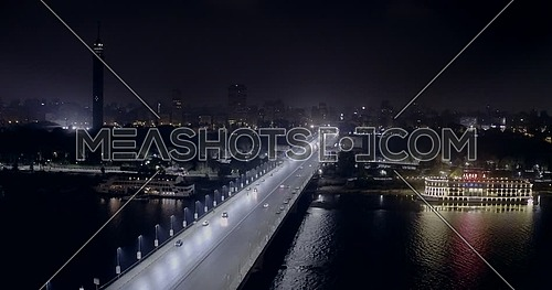 Drone Get Down for 6 of October Bridge over the river nile At Tahrir Area in cairo at night