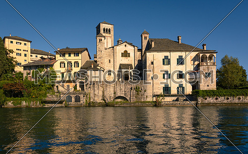 A View of Benedictine monastery at San Giulio island, Lake Orta, Italy