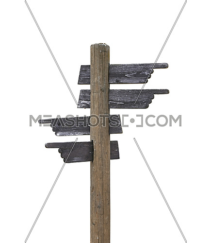 Old vintage road signpost with four hand shaped wooden planks blank copy space arrows different directions, left down and right, isolated on white background, low angle side view