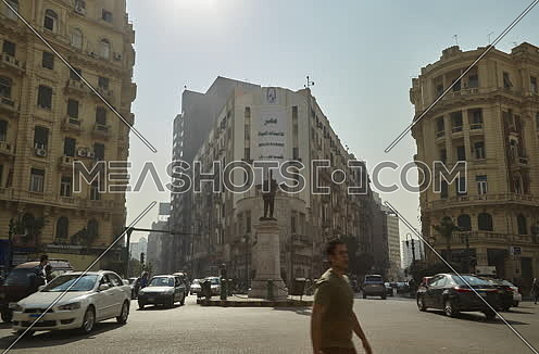 Fixed Shot for Traffic at Talat Harb Square at Cairo at Day