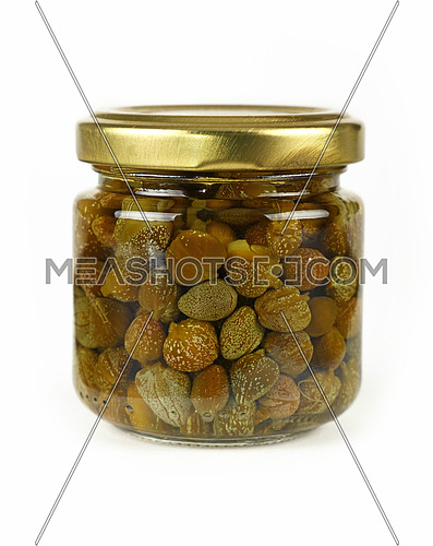 Close up of one small glass jar of pickled capers over white background, low angle side view
