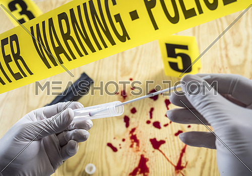Crime scene for cutting weapon, Judicial police takes blood samples in scene of murder, conceptual image, conceptual image