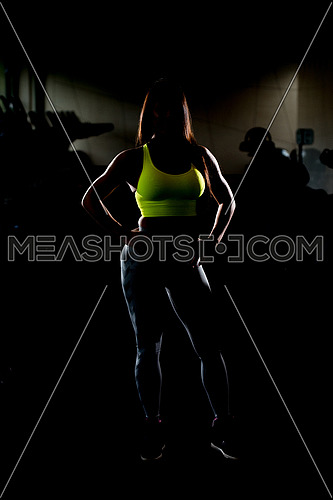 Portrait Of A Sexy Sporty Mexican Woman In The Gym With Exercise Equipment