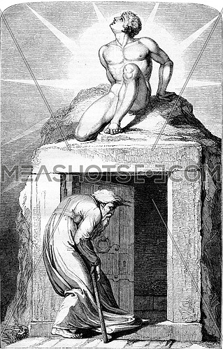 This life is a dream and death an awakening, vintage engraved illustration. Magasin Pittoresque 1853.