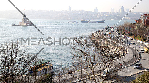 Üsküdar, a large and densely populated district and municipality of Istanbul, Turkey. (where exists kiz kulesi tower on the left)