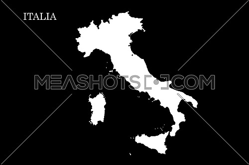 Map of Italy Isolated On Black Background  illustration