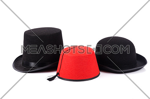 Various hats isolated on the white