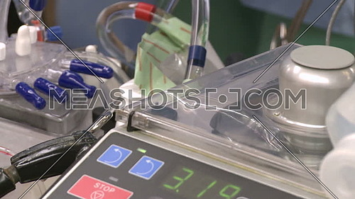 Close up shot of heart lung bypass equipment
