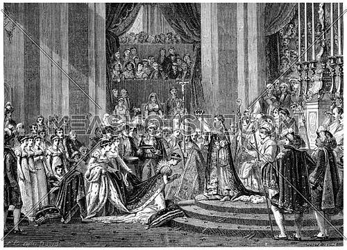Ceremony of Consecration to Our Lady, vintage engraved illustration. History of France – 1885.