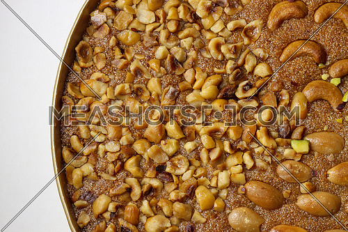Basbosa Oriental sweets with hazel nuts and mixed nuts