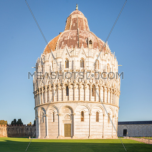 The Baptistery of St. John,Unesco world heritage site.  Baptistery is located in the Piazza dei Miracoli (Square of Miracles) in Pisa, Italy.