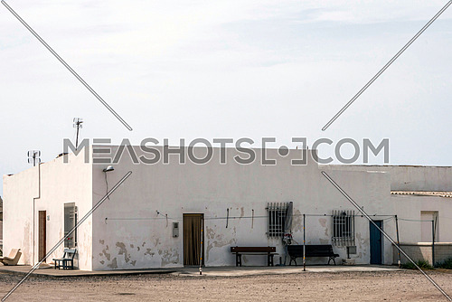 Almeria, SPAIN - May 21: Houses in the village of Almadraba of Monteleva, near of the exploitation of salt in the natural park of Cabo de Gata, Almeria, Andalusia, Spain