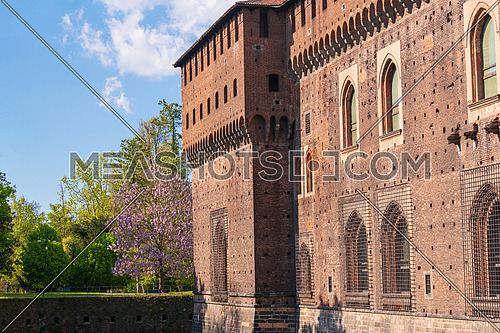 Old medieval Sforza Castle details,sunny day and clouds,Milan ,Italy.
