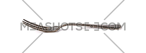 Close up one old vintage metal fork isolated on white background, low angle, side view