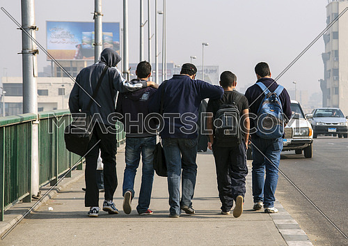 A group of friends on the bridge